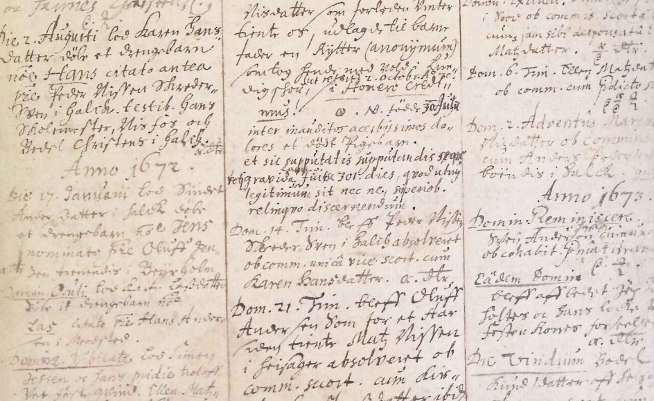 Liste over offentlige skriftemål i Halk Kirke i Sønderjylland i årene 1660-1730.