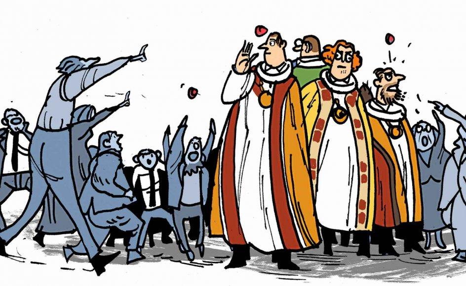 Vor tids biskopper har mange vigtige og vanskelige opgaver. Så husk at klappe din biskop på fløjlsmaven, næste gang I ses, skriver kirke- og kulturminister Mette Bock (LA). Illustration: Søren Mosdal