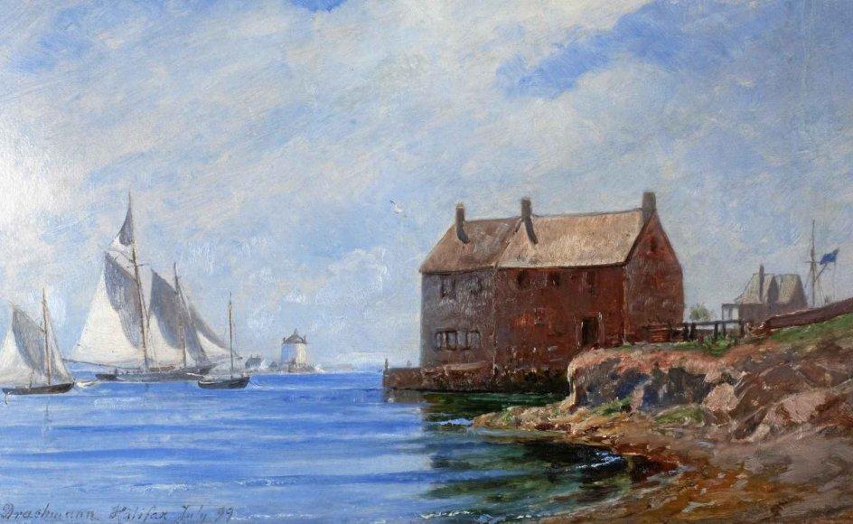 """Holger Drachmann var en rejsende kunstner, og overalt malede han hav. Sektionen med rejsebillederne åbner gæstens øjne for nye verdener. Mest overraskende er nok malerierne fra USA, Canada og Newfoundland. Her er det Drachmanns """"Halifax"""". 1899. –"""