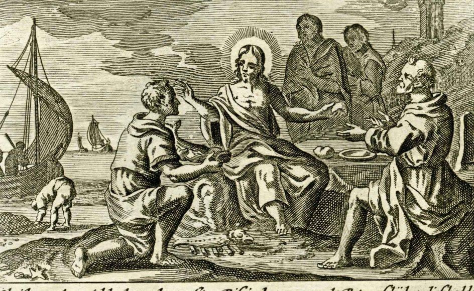 Jesus spørger Peter, om han elsker ham på denne illustration, der er udarbejdet i kobber af hollandske Pieter H. Schut i 1739. – Foto: Historisches Auge/Akg-Images/Ritzau Scanpix.