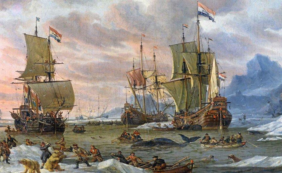Hvalfangst i Ishavet omkring 1700 skildret af den hollandske maler Abraham Storck. 12-årige Anders M. List var på sit femte togt, da hans skib forliste i isen i 1777, og han overvintrede i Grønland. – Wikicommons.