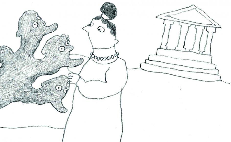 """Illustrationen viser Anne Marie Carl Nielsen i Athen under arbejdet med """"Typhon"""". – Illustrationer: Line Jensen."""