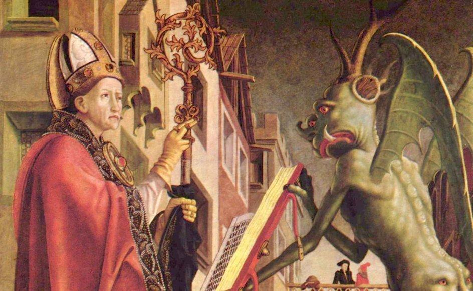 """""""I Det Nye Testamente er ordet """"Beelzebul"""" synonymt med Djævelen, som her ses sammen med Sankt Augustin på et maleri af den tyske maler og billedskærer Michael Pacher. – Arkivfoto."""