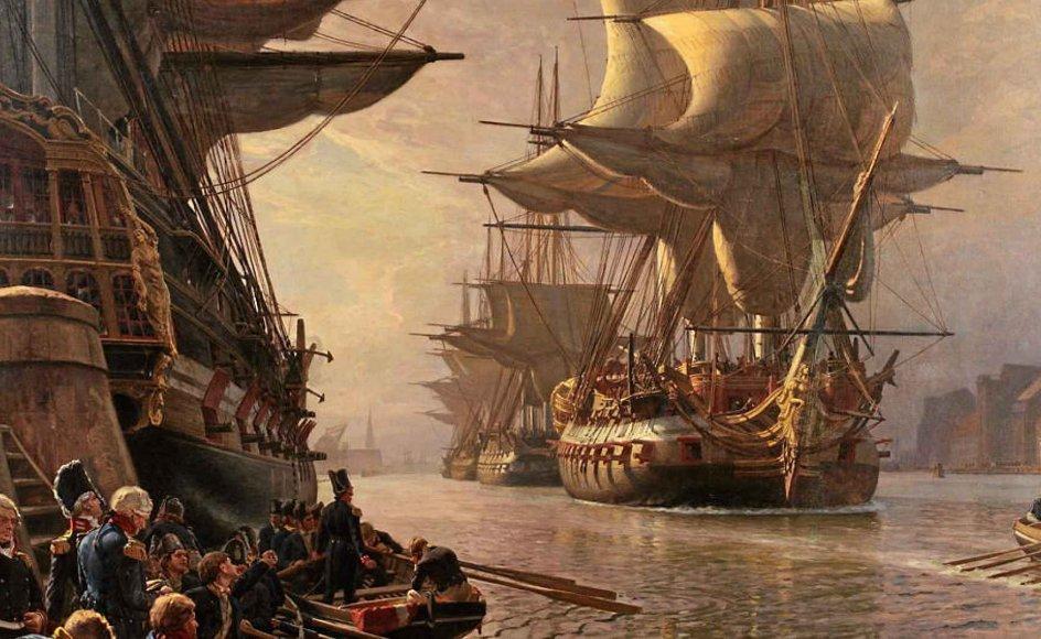 """Danmarks forståelse af sig selv som en søfartsnation fik et knæk i 1807, da briterne sejlede afsted med hele flåden. Christian Mølsteds maleri """"Flåden forlader havnen for sidste gang"""" er fra 1919. – Foto: Wikimedia Commons."""