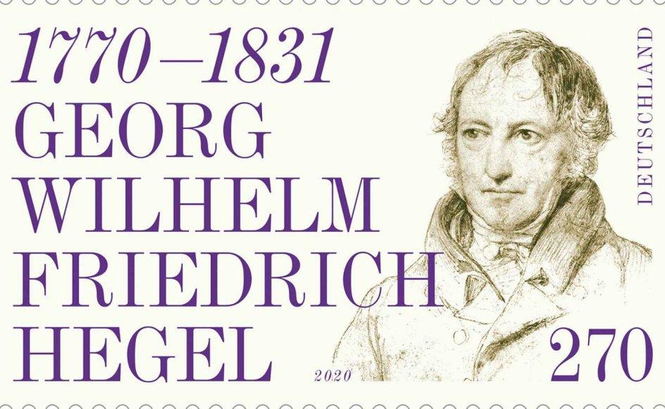 Oprindeligt skulle 2020 være det store jubilæumsår for Tyskland, hvor landet fejrede både Beethovens og Hegels 250-årsfødselsdage, men corona har spændt ben for mange arrangementer. I det mindste har det tyske postvæsen som planlagt kunnet udsende frimærker med de to store tyskeres kontrafej. Hegels frimærke her til 2,70 Euro er et portræt lavet af Wilhelm Hensel i 1829.