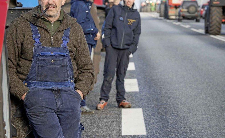 Fordi coronavirus har vist sig at kunne hoppe fra menneske til mink og tilbage igen, skal alle 17 millioner mink i Danmark aflives. I går demonstrerede minkavlere ved Holstebro i deres traktorer og lastbiler som et nødråb fra et landbrugserhverv, der nu nedlægges. – Foto: Bo Amstrup/Ritzau Scanpix.