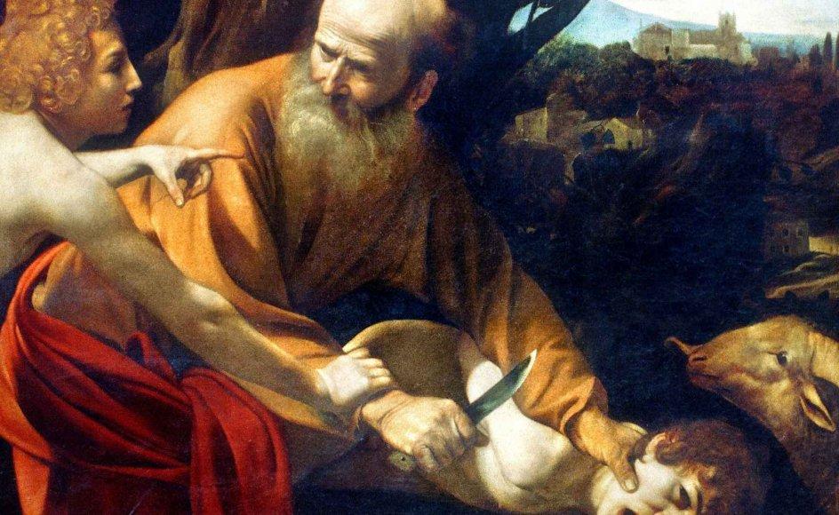 """I Merete Engels nye bog, """"Bibelen og Koranen -- ligheder og forskelle"""", får læseren forklaret religionernes fælles baggrund med skabelse, syndefald og patriarker, herunder Abraham, som her ses i Cavaraggios skildring """"Ofring af Isak"""". --"""