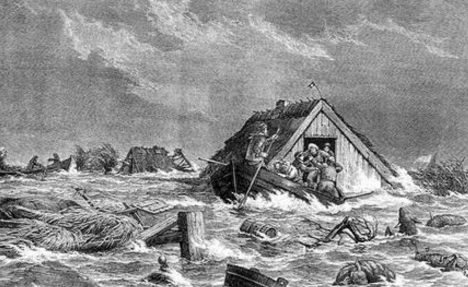 Fra Sydfalster under stormfloden den 13. november 1872. Tegningen, som blev bragt i Illustreret Tidende, forestiller sandsynligvis et par lokale brødres fantastiske redning af beboerne i Bøtø.