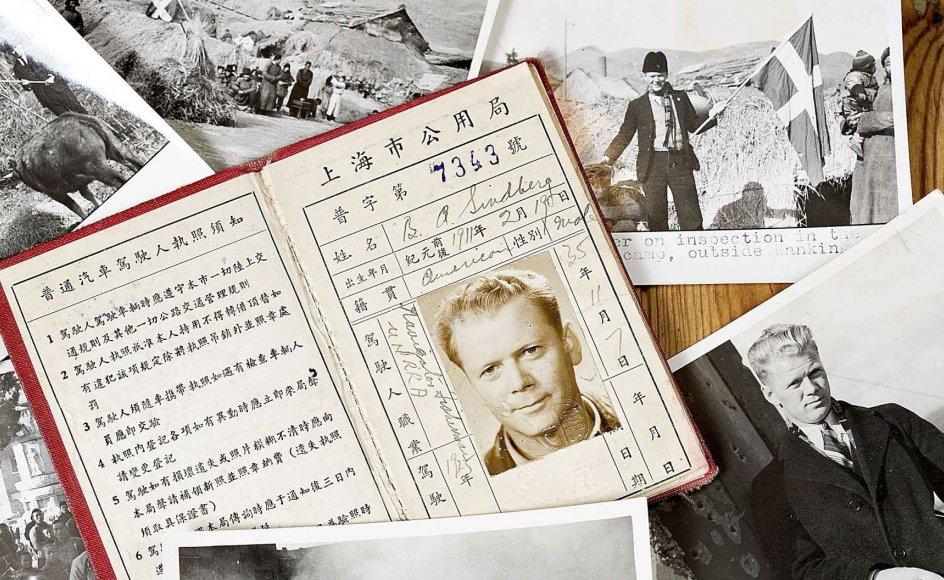 Mariann Stenvig Andersen bruger mange kræfter på at indsamle materiale om sin bemærkelsesværdige onkel og håber at kunne skrive en bog om ham en dag. Her ses billeder af Bernhard Sindberg samt hans kinesiske identitetskort. Klik på billedet for at se mere. -