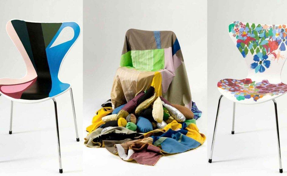 Nogle af 7'er stolene har fået lov at beholde deres klassiske form, mens andre er helt uigenkendelige efter at have været i hænderne på en kunstner. Pengene fra salget af de dekorerede møbler går til bekæmpelsen af brystkræft. –