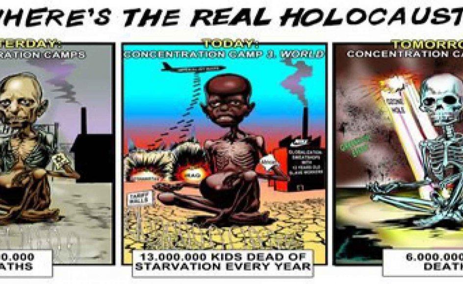 Denne tegning er Jørgen Bitschs bidrag til en iransk satirekonkurrence om holocaust. -