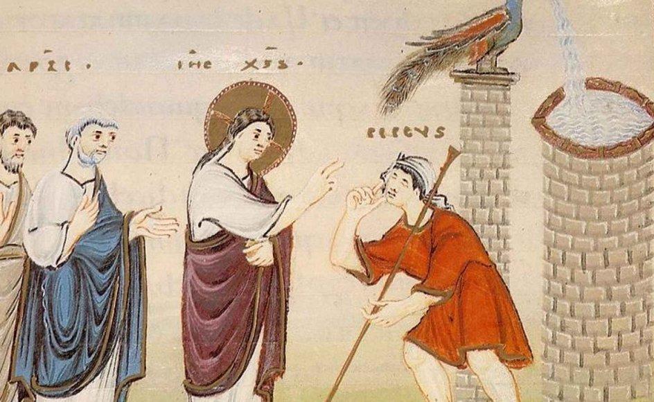 Jesus giver en blind synet tilbage med sit spyt. Maleri fra slutningen af 900-tallet. -