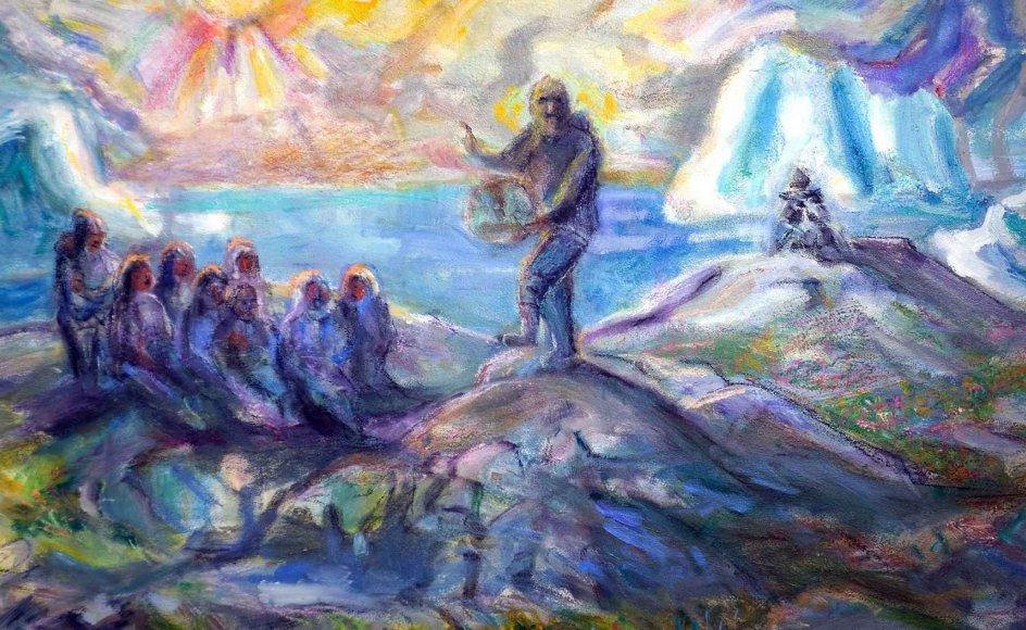 """Her i """"Sidste trommedans"""" ser man tydeligt Hans Lynges begejstring for naturen, lyset og den gamle, grønlandske tradition med trommedans. --"""