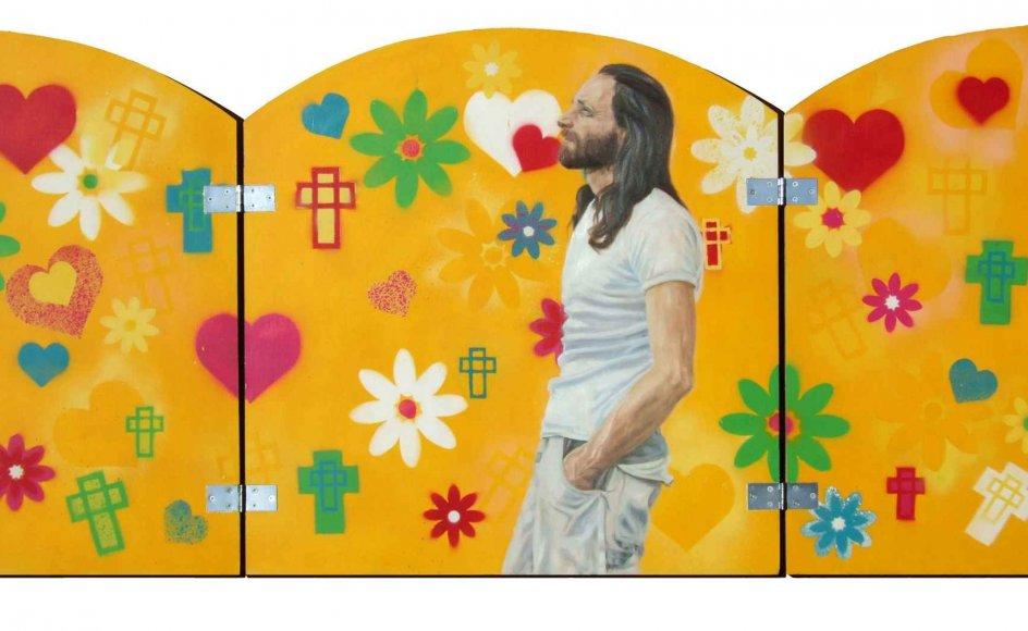 John Andersen med blikket vendt opad og udad. Malet af den skotsk-danske kunstner Leah Robb i forbindelse med en udstilling af portrætter fra fristaden med titlen Christiania Genspejlet, 2009.