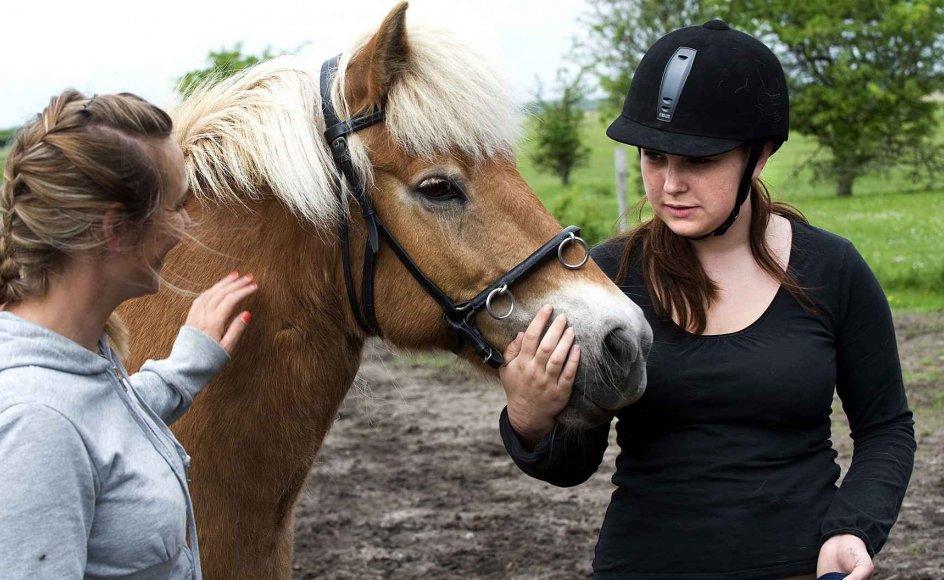 17-årige Rebecca Hansen (øverst th.), der lider af angst og depression, har fået flere gode veninder, efter at hun er startet i rideterapi. Gennem terapien har hun fået nogle redskaber til, hvordan hun bedre kan indgå i relationer til andre mennesker. Det er Maja Frederiksen (øverst tv.), der har Frederiksens Isheste på Amager. Med pædagogiske metoder hjælper hun mennesker til at få en god kontakt til hesten og andre mennesker.