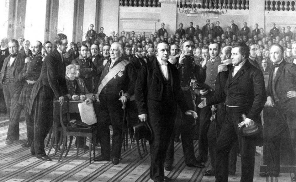 Constantin Hansens kendte maleri af den grundlovgivende rigsforsamling. Her ses alle de politikere, der var med i arbejdet op til den første grundlovs vedtagelse i 1849. Billedet hænger i dag på Frederiksborg-museet. Det blev malet i 1860-1864.