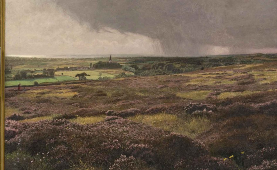 """Jens Birkholm trodsede sin tuberkulose i årevis og fortsatte sit virke som kunstmaler i Svanninge Bakker på Fyn, hvor han malede """"Når lyngen blomstrer"""" i 1907. –"""