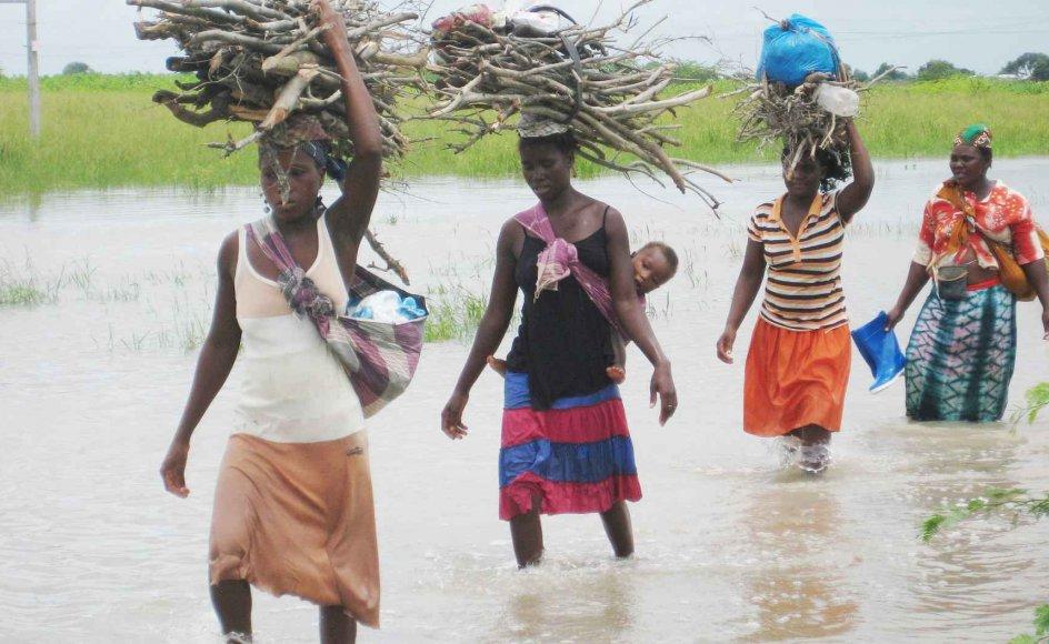 Den vestlige udviklingsbistand bør have øje for de anderledes kønsrelationer, der hersker især i det nordlige Mozambique. Her krydser kvinder et oversvømmet areal på vej hjem med brænde og vand. Når man ikke kan se de kvindelige magtpositioner, risikerer man at komme til at undergrave dem og svække ligestillingen mellem kønnene, pointerer den danske forsker Signe Arnfred. –