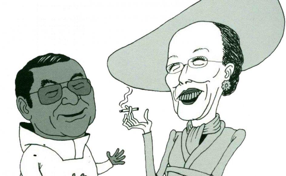 Møderne mellem Jonathan Motzfeldt og Dronning Margrethe er blandt de illustrerede fortælllinger i en ny bog. – Illustration fra bogen: Martin Brandt Hansen.