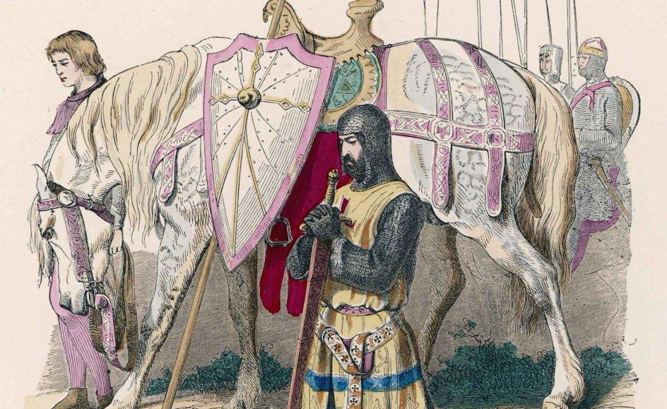 En fransk korsridder beder en bøn, inden han drager i kamp mod muslimer og andre vantro i Andet Korstog, der fandt sted 1147-1149. Korsriddernes definition af en retfærdig krig bliver i store træk stadig brugt i Vesten i dag. – Foto af tegningen: Scanpix.