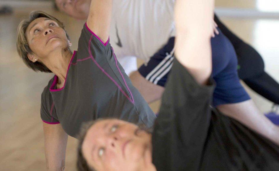Fitnesskunderne på landets godt 400 kommercielle fitnesscentre kan i dag som den naturligste ting i verden vælge mellem flere forskellige typer yoga. Her er det fitness.dk i Aarhus, hvor udøverne primært kommer for motionens skyld. –