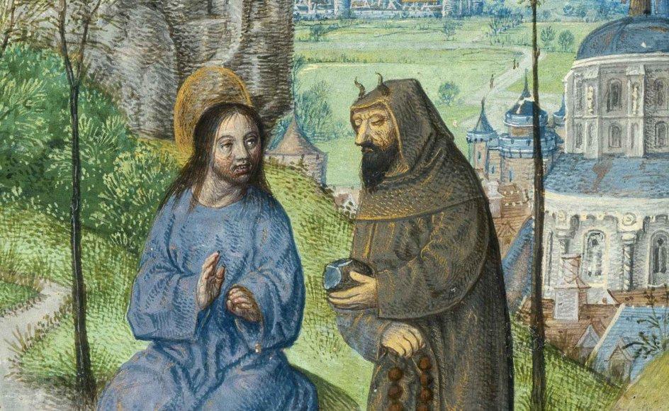 Eksisterer Djævelen som et reelt væsen, eller er han kun et symbol på det onde? Bibelen fortæller om Djævelen som en egentlig person, der forsøger at friste Jesus til at vende sig imod Gud. Blandt andet opfordrer Djævelen Jesus til at gøre sten til mad, her illustreret af Francisco de Roias fra slutningen af det 15. århundrede.