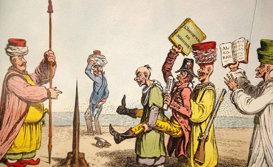 """En af de to tegninger, der viser muslimske gejstlige, er tegnet af englænderen James Gillray. """"Teologi på tyrkisk – Muhammeds kirkes pæl"""" fra 1799 viser mødet med franske oplysningstænkere, der forsøger at bringe ateistiske tanker til Tyrkiet. –"""