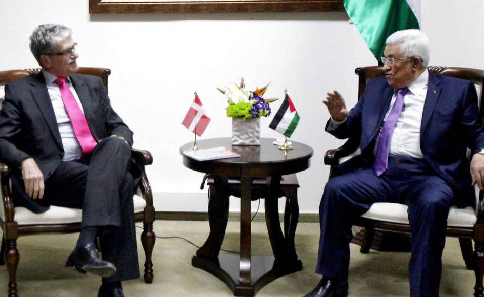 Folketingets formand Mogens Lykketoft og den palæstinensiske præsident Mahmud Abbas i Ramallah. -