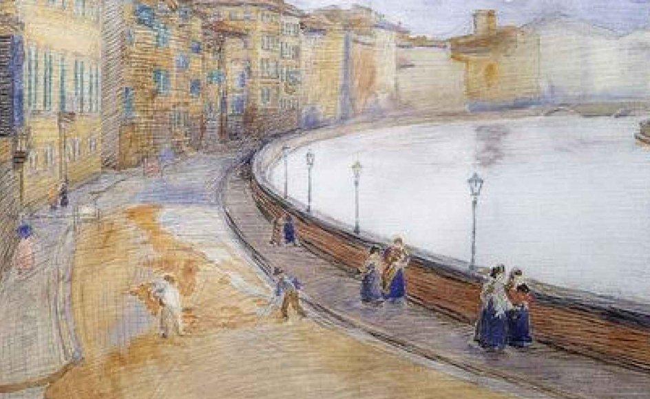 Fritz Syberg (1862-1939) Lungarno. 1910. Akvarel. Privateje.