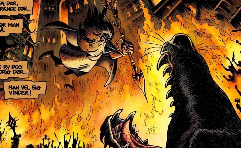 """Fenrisulven strejfer frit omkring i Asgård, årstidernes gang er gået i stå, og da guderne finder ud af, at jætterne står bag, ved de, at Ragnarok er nær. -- Tegning fra albummet """"""""Vølvens syner""""""""."""
