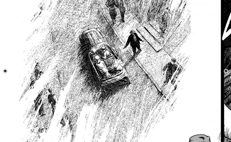 """Artistisk set brillerer Henrik Rehr, når han indimellem afviger fra den fotorealistiske tegnestil i """"Gavrilo Princip"""" og bliver mere ekspressionistisk eller impressionistisk. Som her, hvor Princip skal til at affyre skuddet mod ærkehertug Franz Ferdi-nand. Realismen og de sorte farver fortoner sig for at understrege vigtigheden af det, der skal til at ske. Foto fra bogen."""