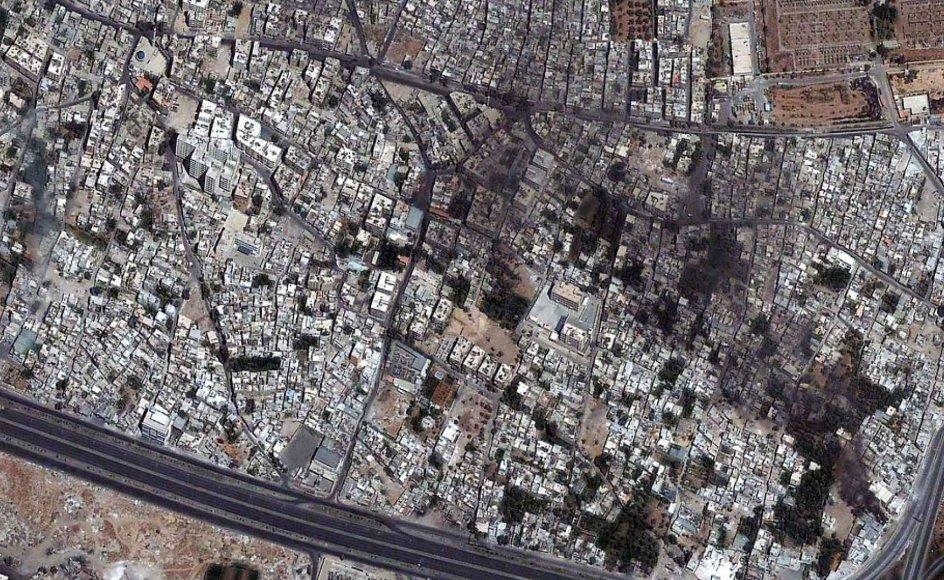 Når den USA-ledede koalition går til angreb mod Islamisk Stat, IS, i Irak, sker det med hjælp fra satellitbilleder og andre efterretningsoplysninger fra Israel. Arkivfoto. Satellitbillede over Damaskus i Syrien.