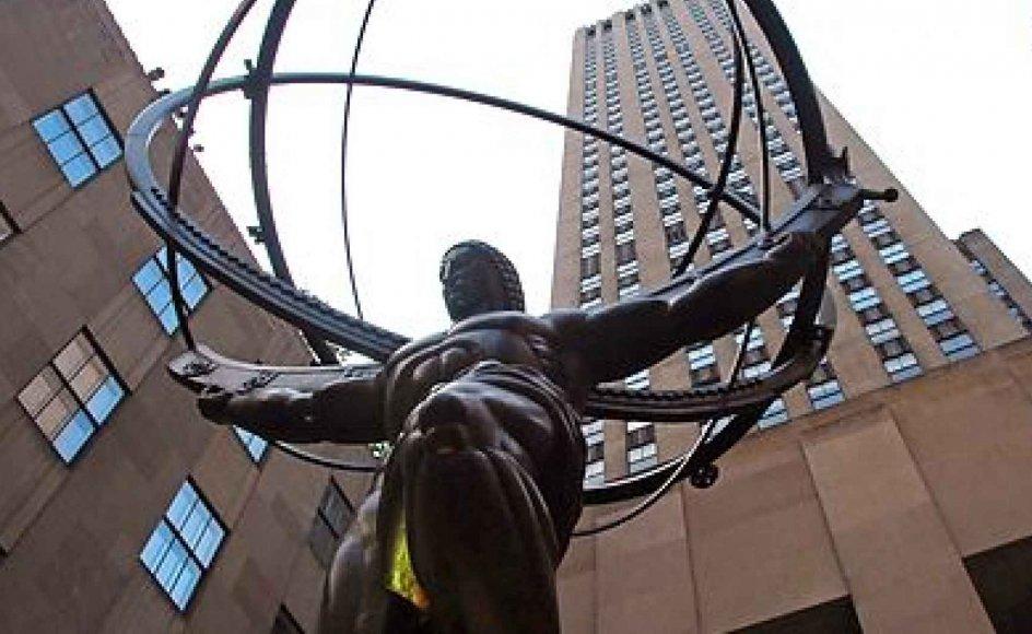 "Atlasstatuen i Manhattan, der ofte bliver koblet til Ayn Rands kontroversielle roman ""Og verden skælvede."""