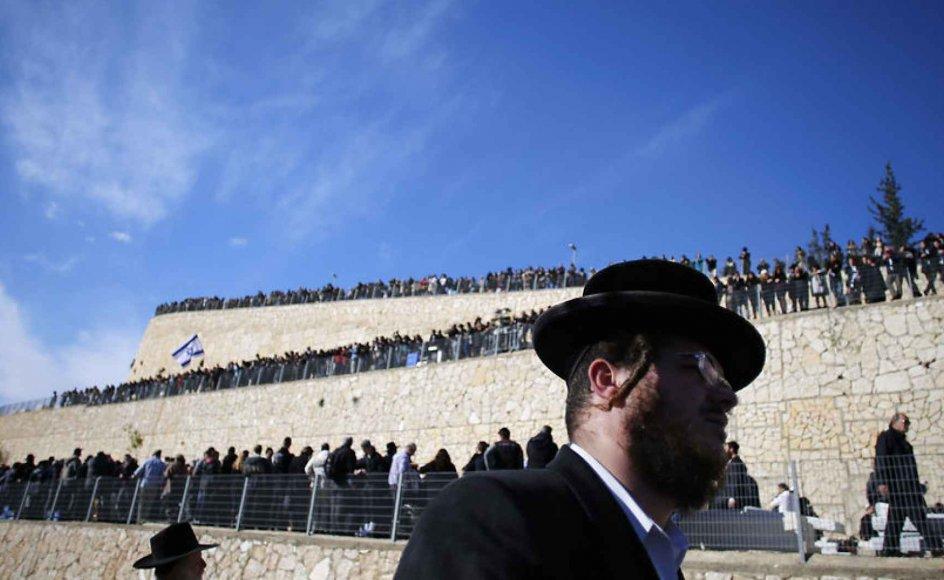 Jøder i Israel deltager i begravelsen af de fire jøder, som blev dræbt ved et gidseldrama i Paris.