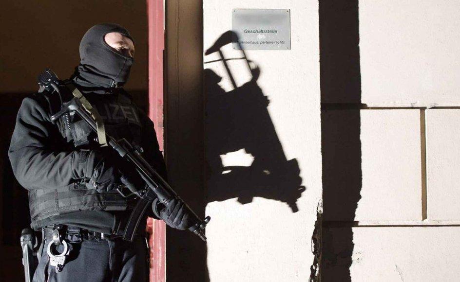 De seneste års terror i Europa kun i enkelte tilfælde begået af tidligere kombattanter fra den syriske slagmark, lyder det fra forskere. Her ses det tyske anti-terrorkorps under en operation mod to mistænkte terrorister i Berlin i januar.