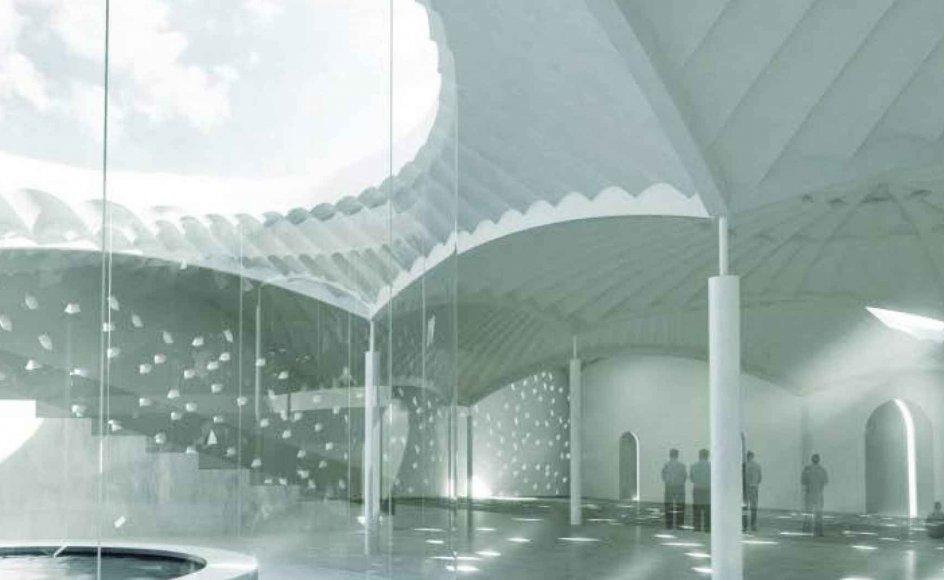 Den nye moské på Dortheavej i København set indefra. Den er tegnet af Henning Larsens Tegnestue. - Illustration: Henning Larsen Architects.