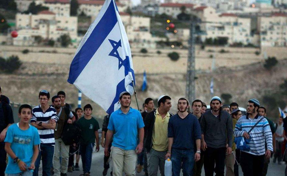 Israelske bosættere på Vestbredden demonstrerer med et krav om, at den israelske regering opfører flere bosættelser.