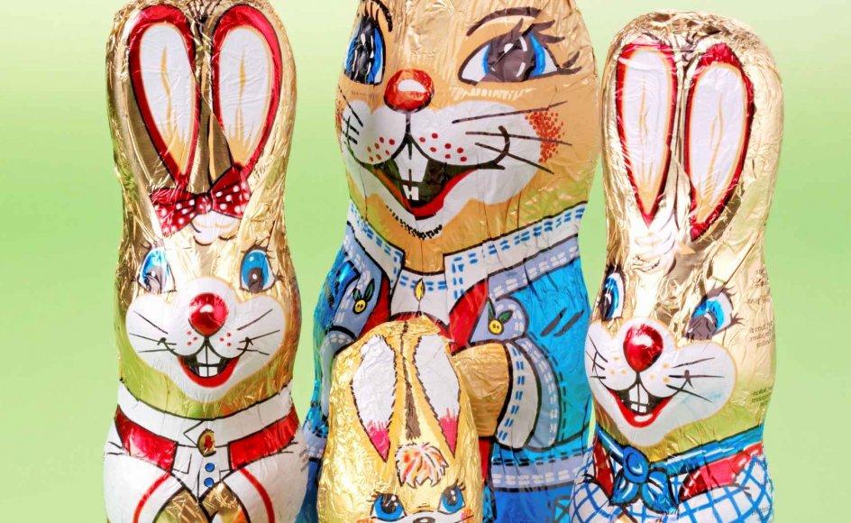 Nogle påskeharer optræder også i chokolade.