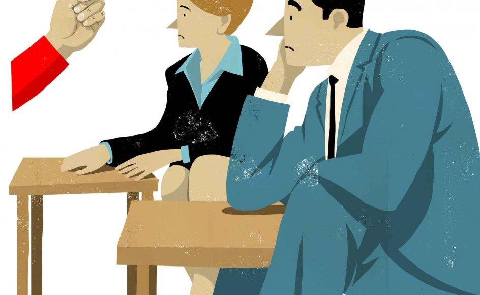 Både skoler og forældre har så høje forventninger til hinanden, at de næsten ikke kan undgå at blive skuffede. Tegning: Rasmus Juul