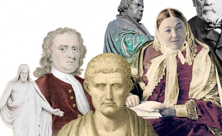 Fra venstre: Bertel Thorvaldsens Jesusstatue i Vor Frue Kirke; tegning af Isaac Newton; stik efter buste af Aristoteles; bronzestatue af Martin Luther; Florence Nightingale; Louis Pasteur. Alle fotos: Scanpix.