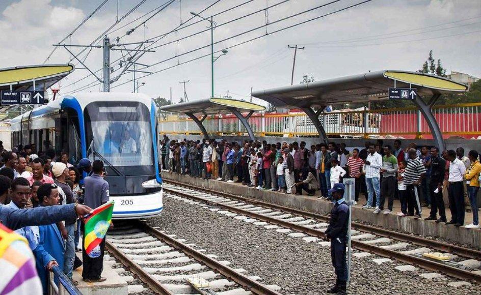 Den nye jernbanestation i Addis Ababa i Etiopien er financieret med støtte fra Kina.