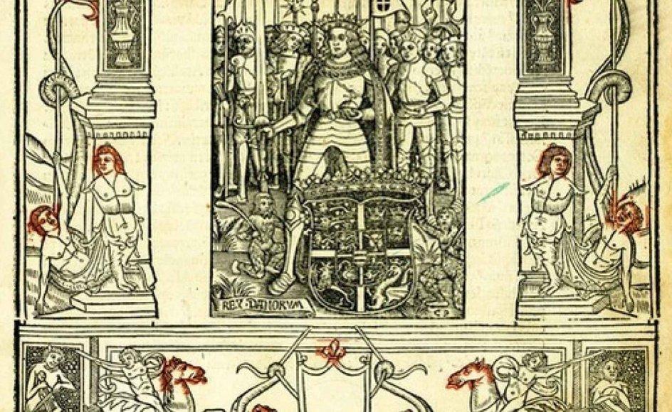 Titelbladet til Christiern Pedersens førsteudgave af Saxo Grammaticus' Danmarks historie (Paris 1514).