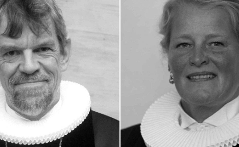 Sagen om præst Annette Berg (th.) og hendes tro på reinkarnation udstiller folkekirken som naiv og uærlig. Sådan lyder det fra eksperter, efter at Roskildebiskop Peter Fischer-Møller (tv.) nu igen indkalder den omstridte præst til tjenstlig samtale.