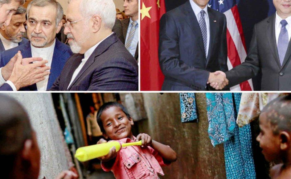 Ole Wæver peger på tre positive udviklinger i året, der er gået: atomaftalen om det iranske atomprogram, som markerede et tøbrud - her ses på billedet ovenover USA's udenrigsminister, John Kerry (tv.), i tæt samtale med de iranske topdiplomater Hossein Fereydoun og Javad Zarif under forhandlingerne i Wien i sommer. Millioner af mennesker i Den Tredje Verden er ved at blive løftet ud af fattigdom, som ifølge FN's nye bæredygtige udviklingsmål helt skal være udryddet om 15 år, så der også er håb for disse indiske drenge i Dharavi-slummen i Mumbai (nederst). Og stigende samspil mellem USA og Kina som ved klimatopmødet i Paris tidligere på måneden, hvor præsidenterne Barack Obama og Xi Jinping (billedet th.) for første gang udstak en fælles kurs. - Fotos: Reuters/Scanpix, Danish Siddiqui/Reuters/Scanpix og Lan Hongguang/Xinhua/Scanpix.