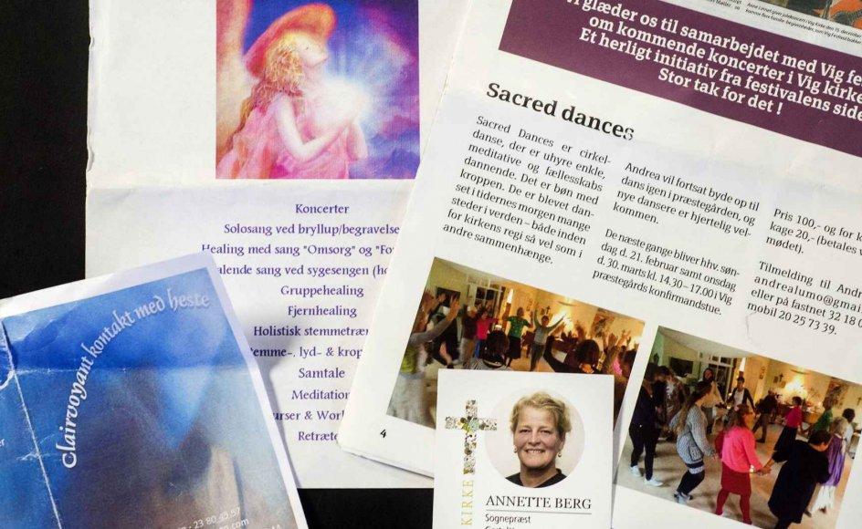 Der er en bred vifte af tilbud for de spirituelt interesserede i Vig og omegn i det nordvestsjællandske. Birgitte Kristensen tilbyder clairvoyant kontakt til heste. Hos Maia Traytorn kan man både få fjernhealing, gruppehealing og holistisk stemmetræning, og endelig tilbyder sognepræst Annette Berg åndelig vejledning og cirkeldanse eller Sacred dances. To af disse brochurer er fundet i Vig Kirkes våbenhus.