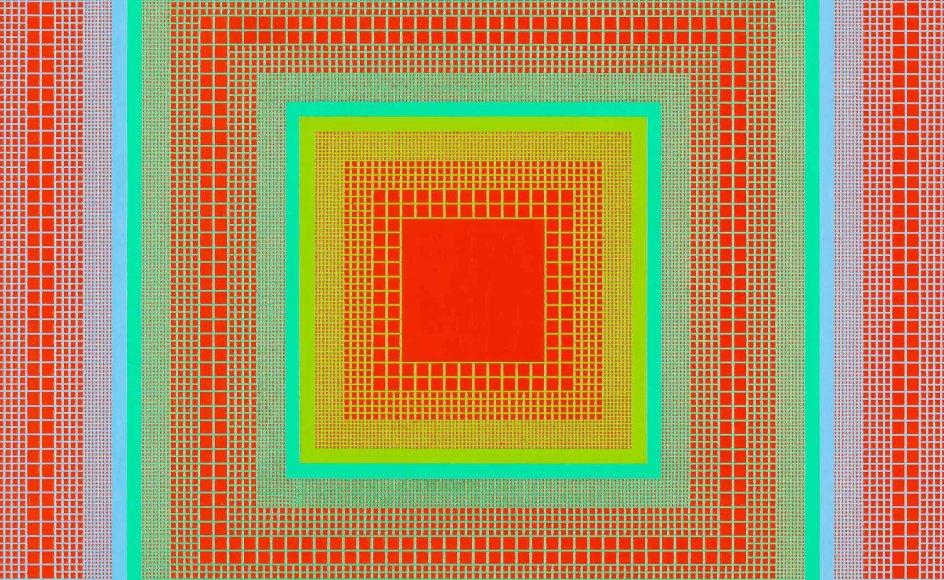 """Richard Joseph Anuszkiewicz: """"Sunglow"""" (Solglød) fra 1968."""