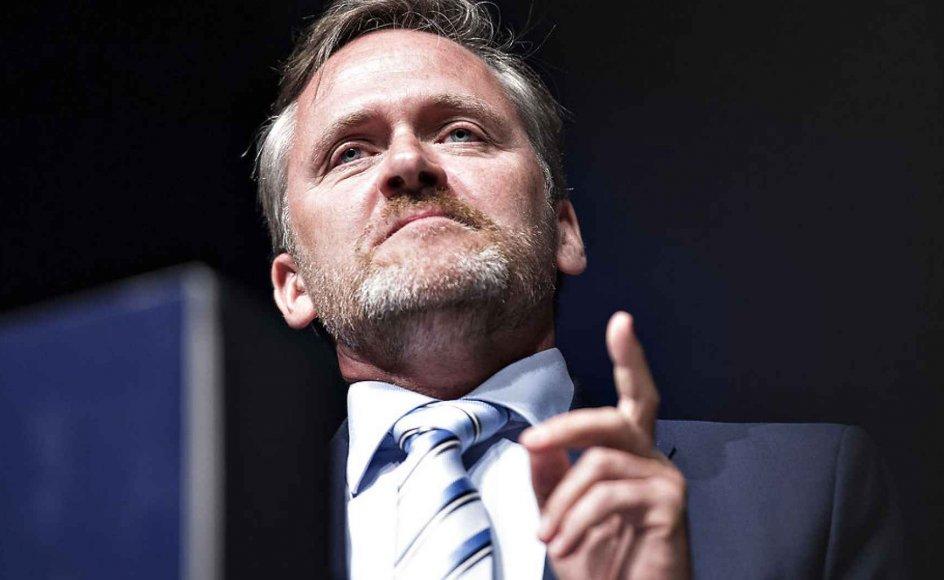 Liberal Alliance holdt lørdag landsmøde i Aalborg Kongres og Kulturcenter. Her ses partileder Anders Samuelsen på talerstolen. (foto: Henning Bagger/Scanpix2016)