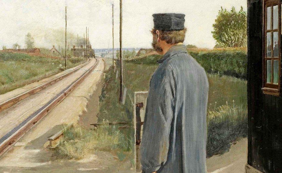 """L.A. Ring: """"Banevogteren"""". 1884. Olie på lærred."""