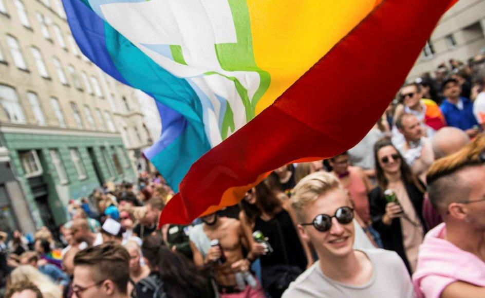Sådan kommer det til at se ud, når Copenhagen Pride Festival på lørdag kulminerer med en regnbueparade gennem København. Optoget starter ved Frederiksberg Rådhus klokken 13 og kommer senere forbi Eliaskirken på Vesterbro. Billedet er fra paraden i 2016. –