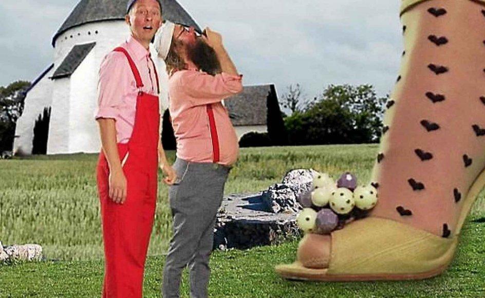 """I et afsnit af """"Onkel Reje"""" bliver man præsenteret for verdens største bornholmer, der er så stor, at hun kun kan bruge en rundkirke som toilet."""